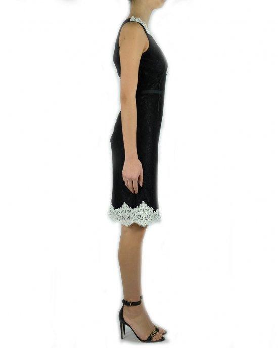 Abito Anna Molinari donna 24105, in pizzo, nero, smanicato, dettagli in contrasto, chiusura con zip invisibile sul retro, taglio in vita, lunghezza media. Nero