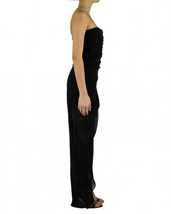 Abito lungo Anna Molinari donna 24205, nero, con drappeggio su scollo, spalline in catena removibili. chiusura sul retro con zip invisibile e gancio, fodera interna. Nero