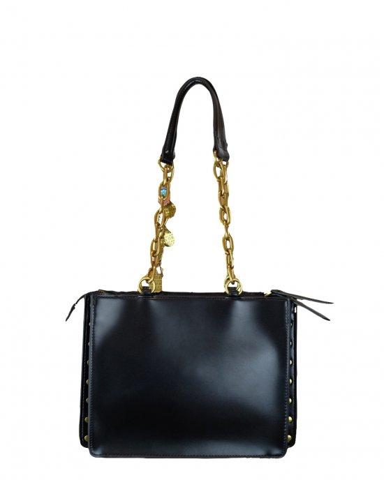 Borsa a spalla Versace donna, tinta unita, manici con catena e tessuto, charms pendenti con iniziali logo, chiusura centrale con zip, doppio scomparto interno, taschino con zip. Nero