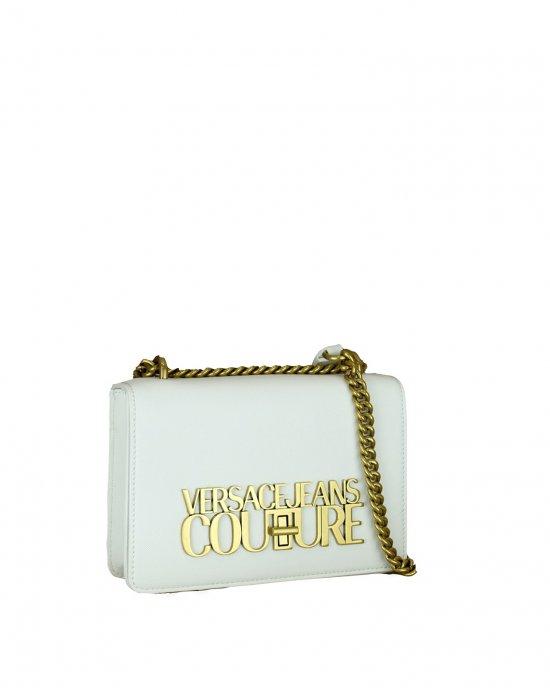 Borsa Tracolla tinta unita,impreziosita da una chiusura nascosta negli elementi in metallo con logo color oro, tracolla con catena oro e tessuto. Bianco