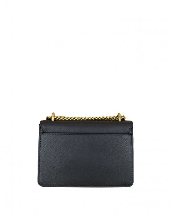 Borsa Tracolla tinta unita,impreziosita da una chiusura nascosta negli elementi in metallo con logo color oro, tracolla con catena oro e tessuto. Nero