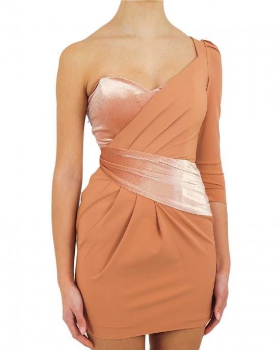Abito Elisabetta Franchi donna, monospalla, corto, con inserto in vita in velluto, drappeggio laterale, chiusura con zip laterale oro. Rose gold