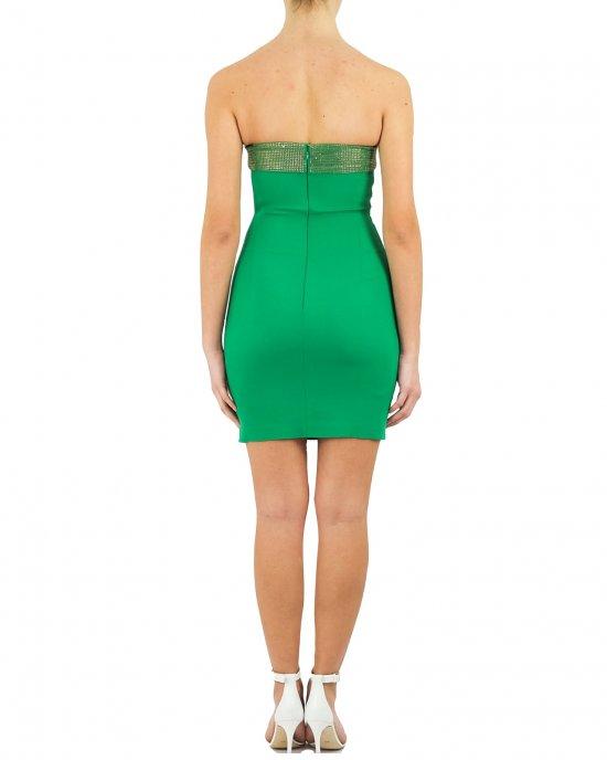 Abito Pinko donna, tubino, scollo a fascia, con strass, corto, chiusura con zip sul retro. Verde
