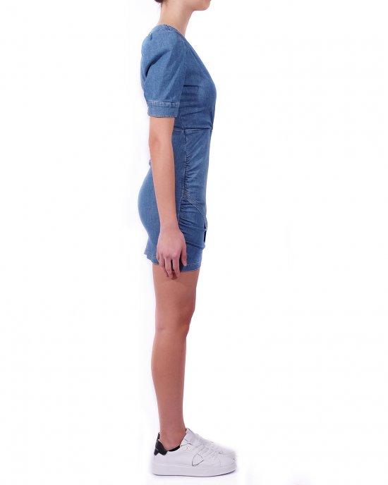 Abito Gaelle donna, in denim, corto, scollo incrociato, manica corta, taglio in vita, chiusura sul retro con zip. Blu denim