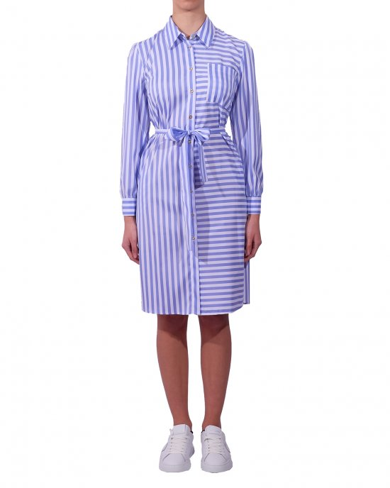 Abito Kocca donna , con stampa linee verticali e orizzontali , cintura in tessuto, maniche con bottoncino. Bianco