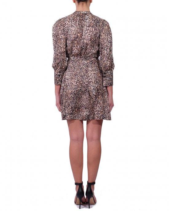 Abito Kocca donna, modello camicia bottoncino a vista sul colletto, cintura in tessuto e le fantastiche maniche a sbuffo, fantasia maculata. Nero