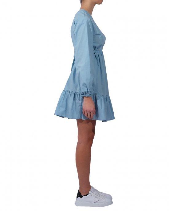 Abito Semicouture donna, tinta unita, modello tunica, manica lunga, con laccetto sul retro, taglio in vita, balza arricciata sul fondo. Turchese