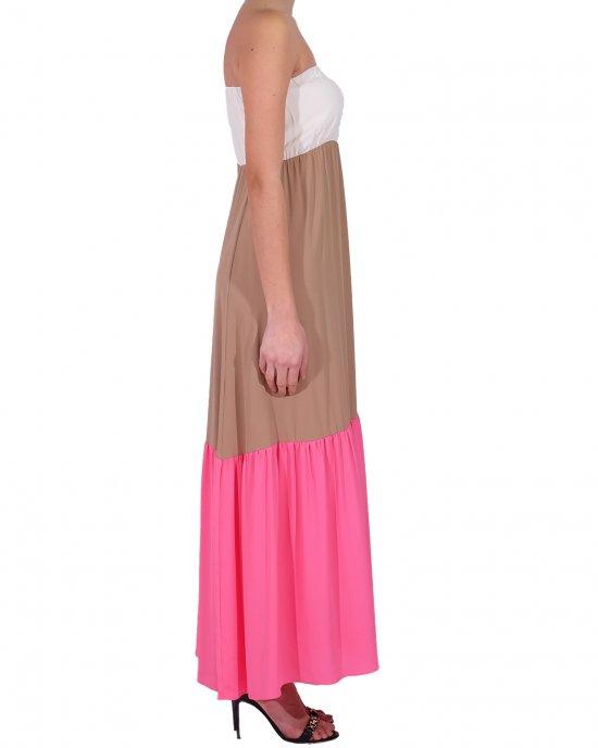 Abito lungo Semicouture donna, scollo a fascia con elastico, a balze, con mix di colori. Avorio