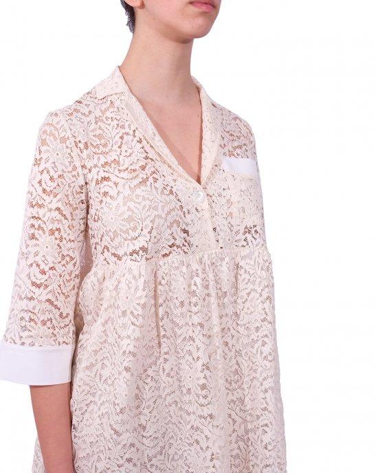 Abito Semicouture donna, in pizzo, maniche tre quarti, collo tipo camicia, taschino parte superiore, con sottogonna. Avorio