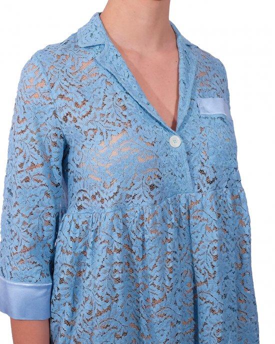 Abito Semicouture donna, in pizzo, maniche tre quarti, collo tipo camicia, taschino parte superiore, con sottogonna. Turchese