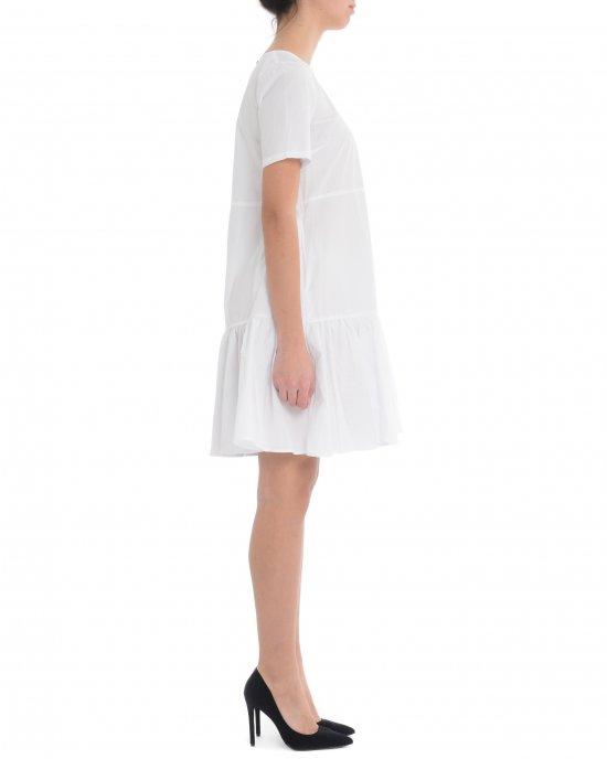 Abito Sun68 donna, corto ,tinta unita, in cotone, manica corta, girocollo, chiusura con bottoncino ad asola sul retro, vestibilità morbida, balza sul fondo. Bianco